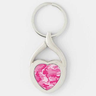 Modelo rosado lindo del camuflaje llavero plateado en forma de corazón