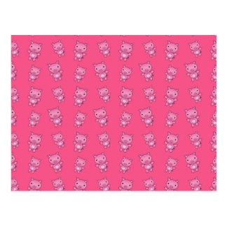 Modelo rosado lindo del cerdo tarjeta postal