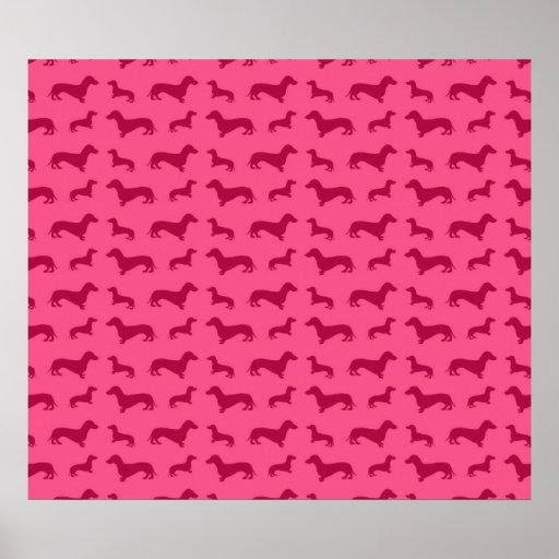 Modelo rosado lindo del dachshund poster