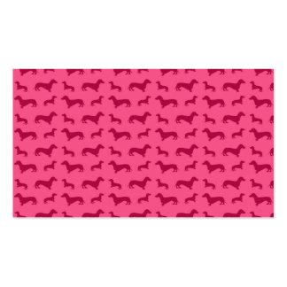 Modelo rosado lindo del dachshund tarjetas de visita