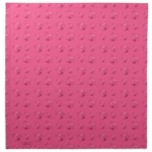 Modelo rosado lindo del gato servilleta de papel