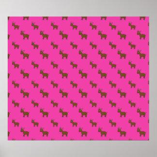 Modelo rosado lindo del reno poster