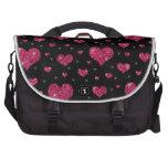 Modelo rosado negro de los corazones del brillo bolsas de portatil