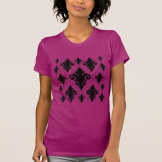 Modelo rosado negro del damasco del diamante camiseta