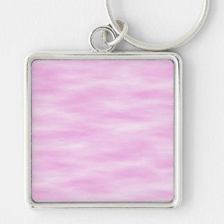 Modelo rosado. Ondas suaves, nubes Llavero Cuadrado Plateado