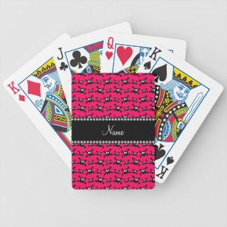 Modelo rosado oscuro conocido personalizado de los baraja de cartas