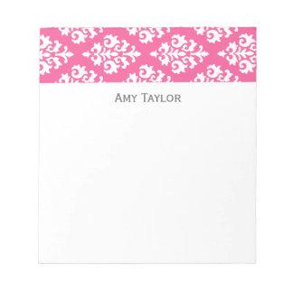 Modelo rosado personalizado del damasco bloc de notas