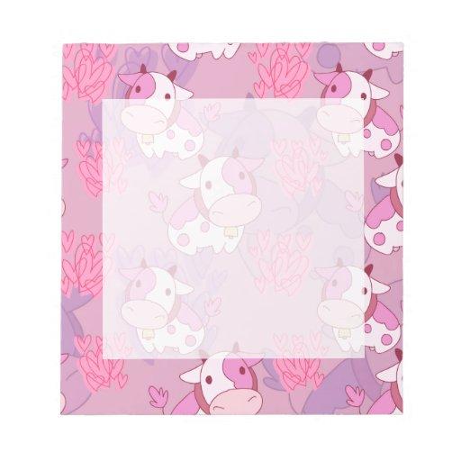 Modelo rosado precioso de la vaca blocs de papel