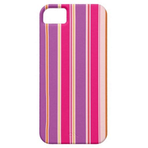 Modelo rosado púrpura de las rayas verticales iPhone 5 carcasa