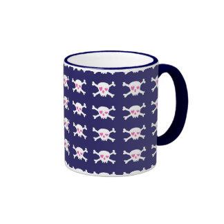 Modelo rosado púrpura de los cráneos del punk rock taza de café