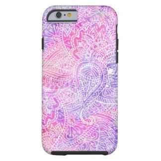 Modelo rosado púrpura femenino abstracto del funda para iPhone 6 tough