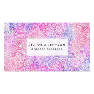Modelo rosado púrpura femenino abstracto del tarjetas de visita