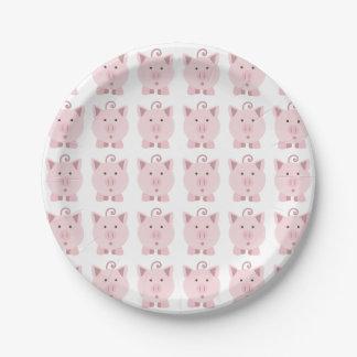 Modelo rosado redondo del cerdo platos de papel