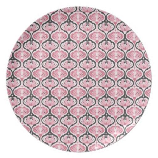 Modelo rosado retro del pavo real plato para fiesta