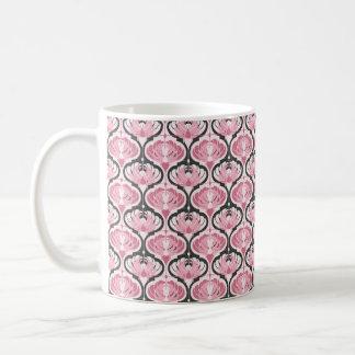 Modelo rosado retro del pavo real taza de café