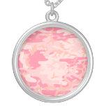Modelo rosado simple de Camo de los chicas Collar Personalizado