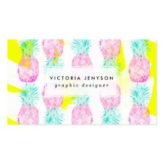 Modelo rosado tropical de las piñas del amarillo tarjetas de visita