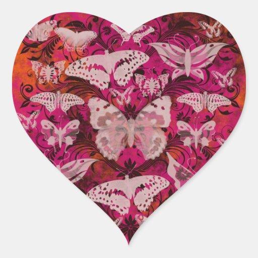 Modelo rosado y anaranjado de la diversión de mari pegatina corazon