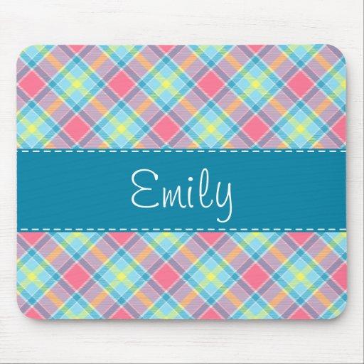 Modelo rosado y azul de la tela escocesa mousepads