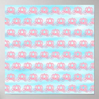 Modelo rosado y azul de princesa Carriages Poster