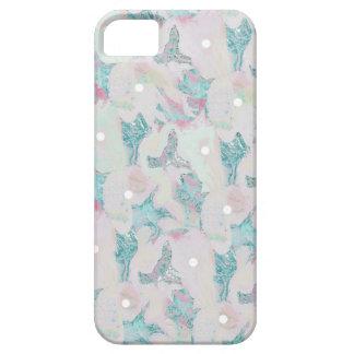 """Modelo rosado y azul del """"flor"""" de lunar funda para iPhone 5 barely there"""