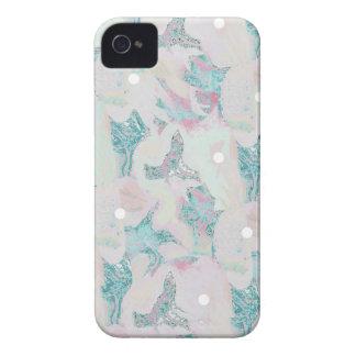 """Modelo rosado y azul del """"flor"""" de lunar iPhone 4 carcasas"""
