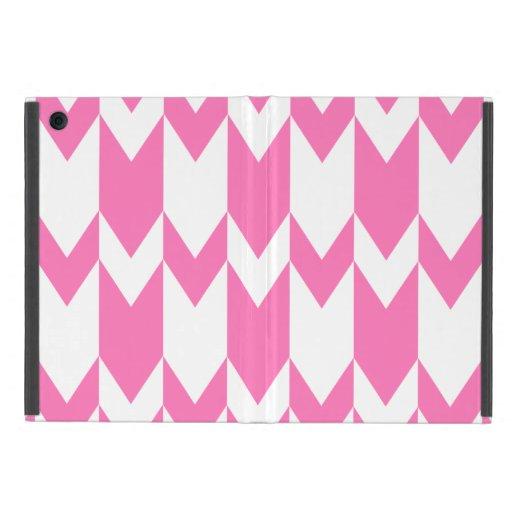 Modelo rosado y blanco brillante de Chevron iPad Mini Protector