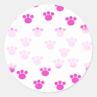 Modelo rosado y blanco brillante de la impresión pegatinas redondas