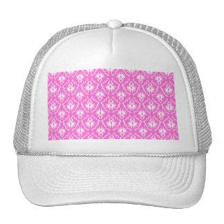 Modelo rosado y blanco brillante del damasco gorros bordados