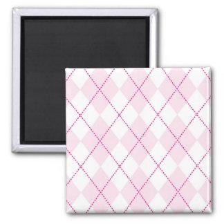 Modelo rosado y blanco de Argyle Imán Cuadrado