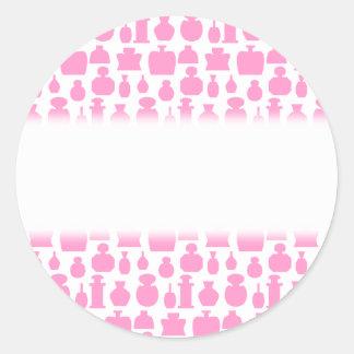 Modelo rosado y blanco de la botella de perfume pegatina redonda
