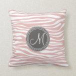 Modelo rosado y blanco de la cebra almohada