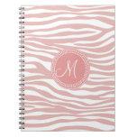 Modelo rosado y blanco de la cebra libros de apuntes con espiral