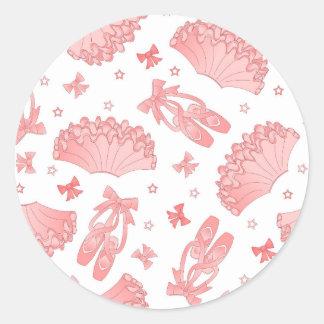 Modelo rosado y blanco de la estrella del ballet pegatinas redondas