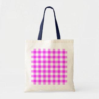 Modelo rosado y blanco de la guinga bolsa tela barata