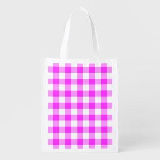 Modelo rosado y blanco de la guinga bolsas reutilizables