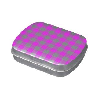 Modelo rosado y blanco de la guinga latas de dulces