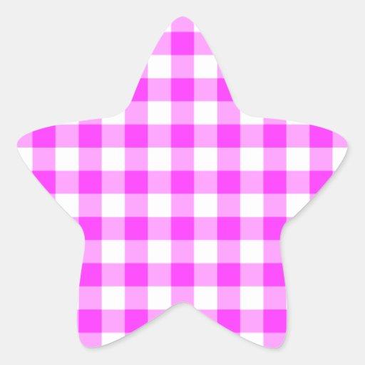 Modelo rosado y blanco de la guinga pegatina en forma de estrella