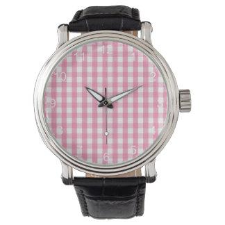 Modelo rosado y blanco de la guinga relojes de pulsera