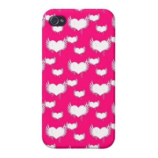 Modelo rosado y blanco de los corazones iPhone 4 carcasa