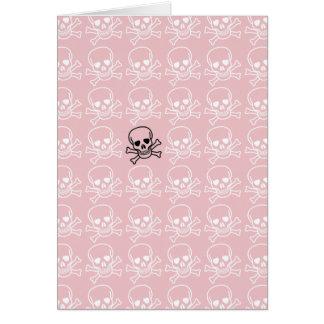 Modelo rosado y blanco de los cráneos tarjeta pequeña