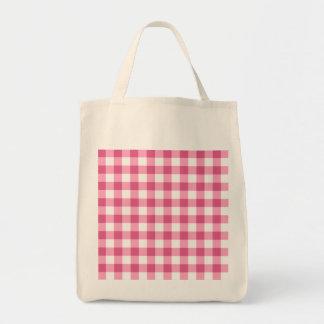 Modelo rosado y blanco del control de la guinga bolsa tela para la compra