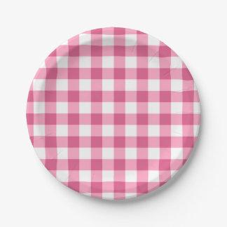Modelo rosado y blanco del control de la guinga plato de papel de 7 pulgadas