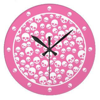 Modelo rosado y blanco del cráneo reloj redondo grande