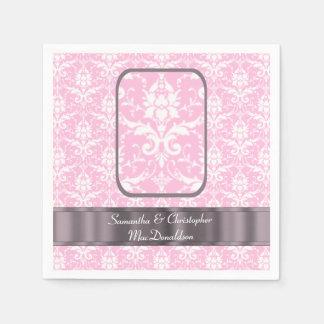 Modelo rosado y blanco del damasco del boda servilletas desechables