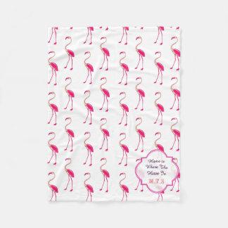 Modelo rosado y blanco del flamenco manta de forro polar