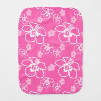 Modelo rosado y blanco del Hawaiian del hibisco Paños De Bebé