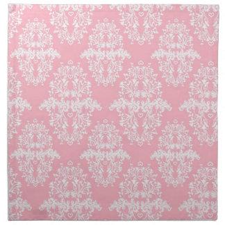 Modelo rosado y blanco del vintage del damasco servilletas
