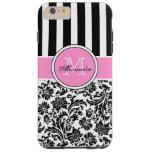 Modelo rosado y blanco negro del damasco y de las funda de iPhone 6 plus tough