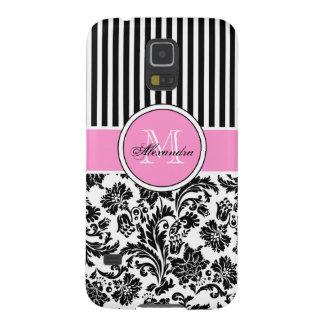Modelo rosado y blanco negro del damasco y de las